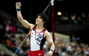 epa02406940 Japanese gymnast Kohei Uchimura celebrates after winning the all-around finals of the 42nd Artistic Gymnastics World Championships in Rotterdam, Netherlands, 22 October 2010.  EPA/ROBIN UTRECHT