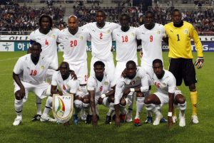 (L-R, front row) Senegal's Mohamed Sarr, Issiar Dia, Hadji Makhtar Thioune, Moussa Sow, Jacques Faty, (L-R second row) Pape Malickou Diakhate, Mickael Tavarez, Moustapha Diallo, Papiss Demba Cisse, Demba Ba and Cheikh Tidiane Ndiaye pose before their international friendly soccer match against South Korea at Seoul World Cup stadium October 14, 2009. REUTERS/Lee Jae-Won (SOUTH KOREA SPORT SOCCER)